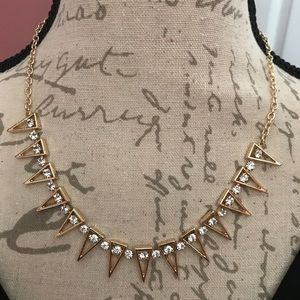 Jewelmint Gold Crystal Spike Statement Necklace