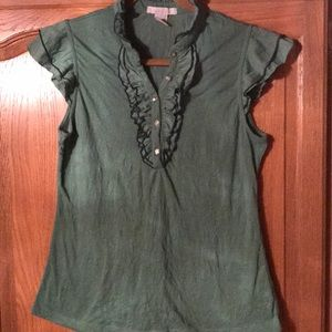 Charlotte Russe green blouse sparkle buttons