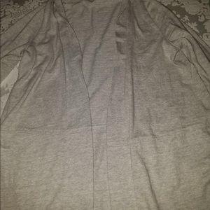 Light gray open cardigan