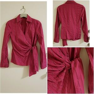 Express Pink Wrap LS Blouse with Gold Foil Stripe