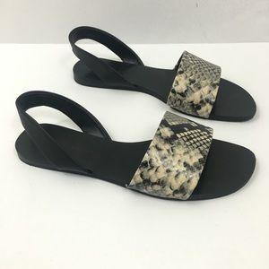 ZARA SIZE 8 Slide On Sandal Black w/ Snake Skin