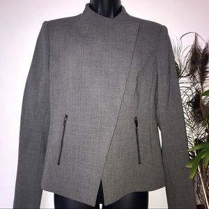 Ann Taylor Gray Cross Over Zipper Pocket Blazer