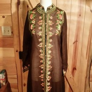 Vintage Sheer Embroidered Long Cover up