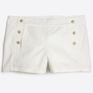 "J.Crew Factory 3"" White Sailor Shorts Size 6 NWT"