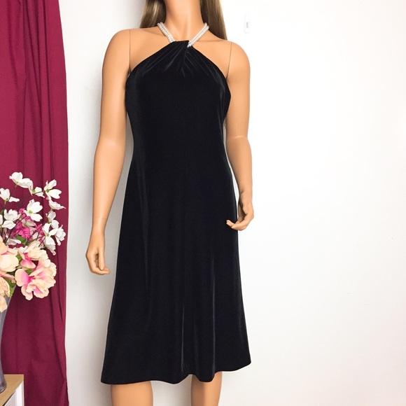 Evan Picone Dresses Black Velvet Pearl Halter Dress Poshmark