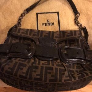 "NEW Fendi LOGO Special Edition Zucca ""Buckle"" Hobo"
