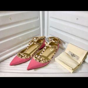 Valentino Patent Leather Rockstud Ballerina Flats