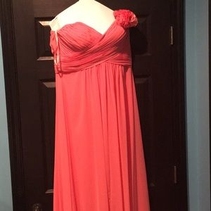 Coral Bari Jay Long Bridesmaids Dress