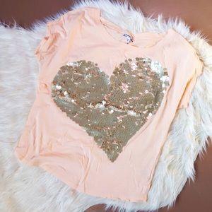 Express Sequin Heart Top