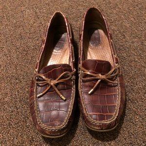Women's Sperry Brown Crocodile Alligator Shoes
