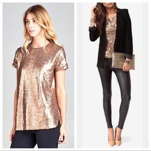 Tops - Bronze Sequin Top
