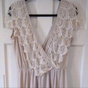 Vintage Lace Crocheted Off White Alt Wedding Dress