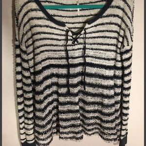 Free People lace up v-neck striped sweater