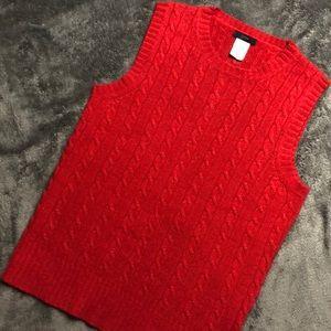 J. CREW Red Knit Sleeveless Sweater Top