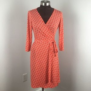 Tahari Levine Tangerine Geo Wrap Dress