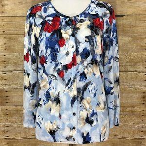 WHBM Floral Print Sweater Size Medium