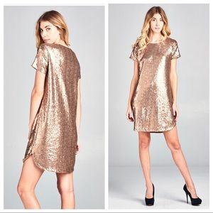 Dresses & Skirts - Bronze Sequin Shift Dress