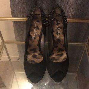 Black Sam Edelman suede peep toe heels