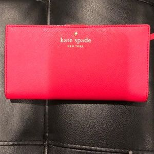 Mint Kate spade bright coral pink wallet
