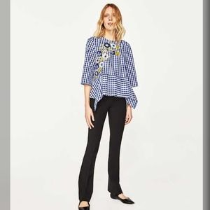 Zara Woman Gingham Floral Embroidered Top, Size S