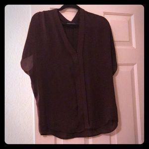 Vince Chocolate Silk Tunic Blouse - Small