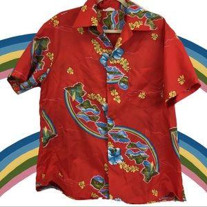 Vintage True Hawaiian Island Rainbows Button Up
