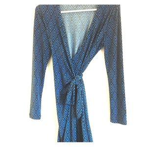 Banana Republic Blue Chevron Wrap Dress XSP