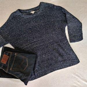 Soft Heathered Blue White Crew Neck Sweater