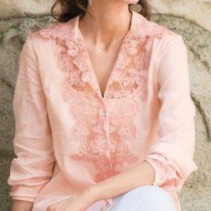 Soft Surroundings Sheer Lacy Pink Blush Lace Shirt