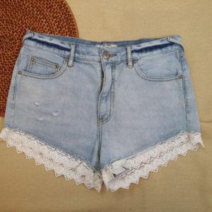 Free People Size 27 Light Denim Jean & Lace Shorts