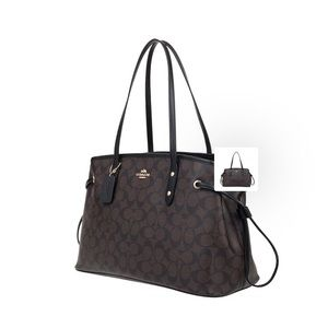 Coach signature brown drawstring shoulder bag