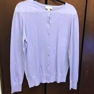 Periwinkle Loft cardigan with gem buttons