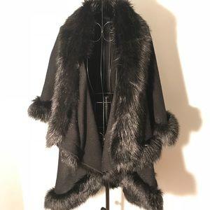 Black Cape with Faux Fur Trim