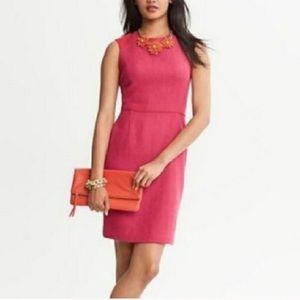 Banana Republic pink red orange wool chevron dress