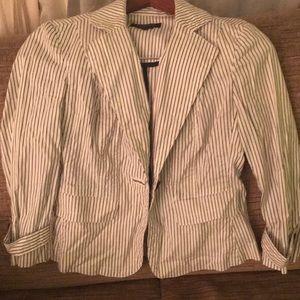 Talbots striped white blazer