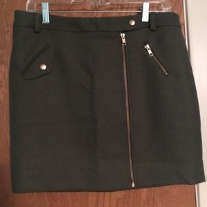 J. Crew Olive Wool Mini Skirt, Size 8