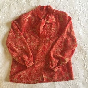 Vintage Silk Blouse with Bow Sz S