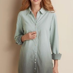 Soft Surroundings Dip Dye Gauze Green Ombré Shirt