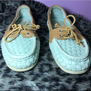 Sperry Top Siders 9.5 Turquoise Basketweave EUC