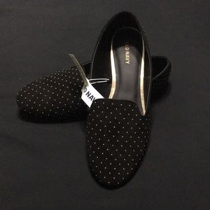 Gold studded faux suede loafers