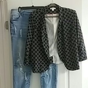 JohnPaulRichard black polka dot pattern blazer XL
