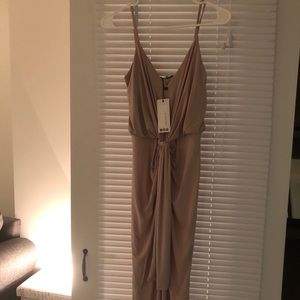 Pretty beige Boohoo dress brand new with tags