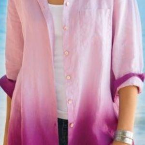 Soft Surroundings Ocean Ombre 100% Linen Pink Top
