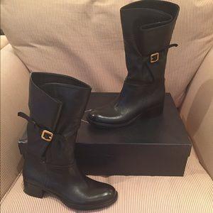 MINT Prada Cervo Leather Ankle Boot w/ Buckle Sz 8