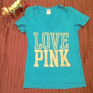 "VS PINK Blue & Gold Glitter ""Love Pink"" V-Neck Tee"