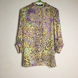 Ark and Co. printed silk button down blouse
