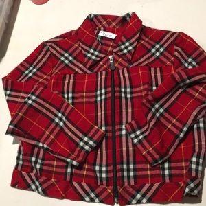 Vintage red cropped zip up jacket size medium