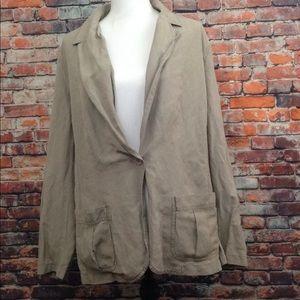J. Jill Brown 2X Blazer Coat W/Pockets