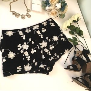 Embroidered Floral Shorts