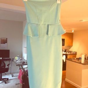 Mint green body con peplum dress